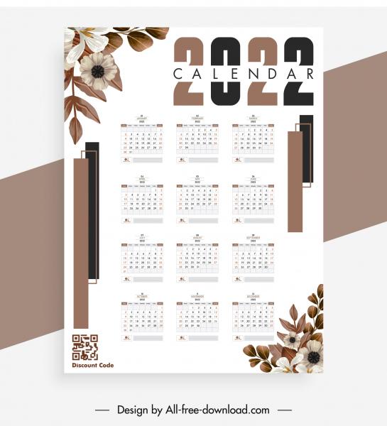 2022 calendar template bright elegant classic botany decor