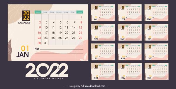 2022 calendar template classical flat decor