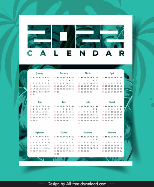 2022 calendar template classical green leaves decor