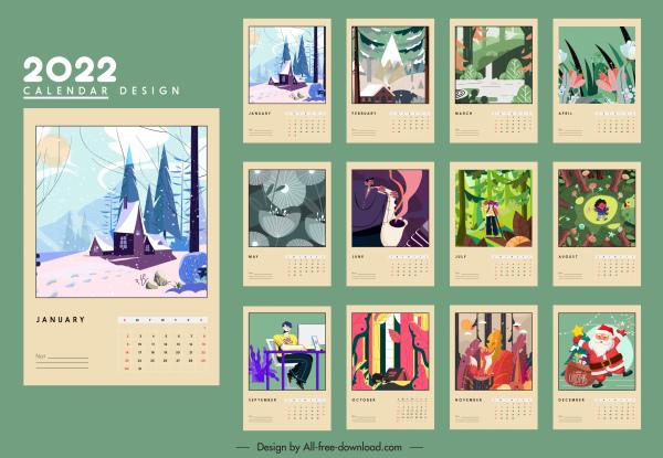 2022 calendar template classical symbols sketch