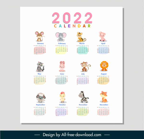 2022 calendar template cute animals sketch