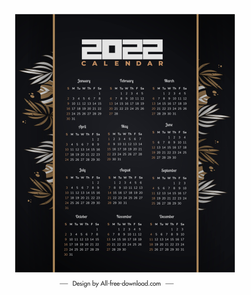 2022 calendar template dark classic design leaves decor