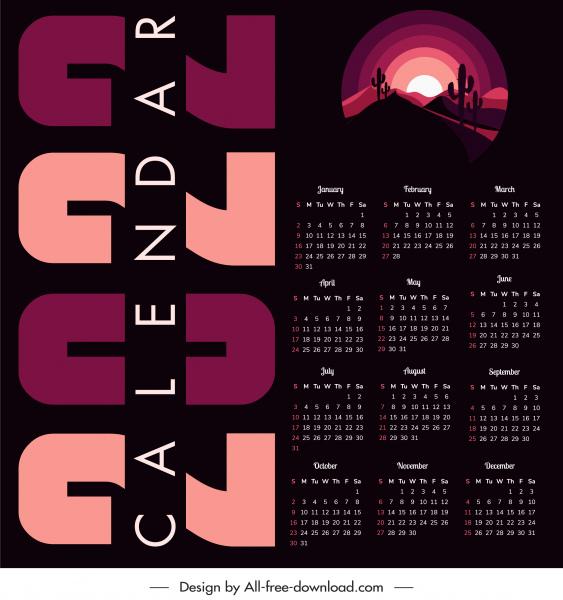 2022 calendar template dark design desert scenery sketch