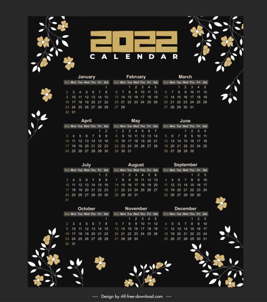 2022 calendar template dark design elegant flowers decor