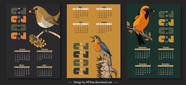 2022 calendar template dark design natural birds sketch