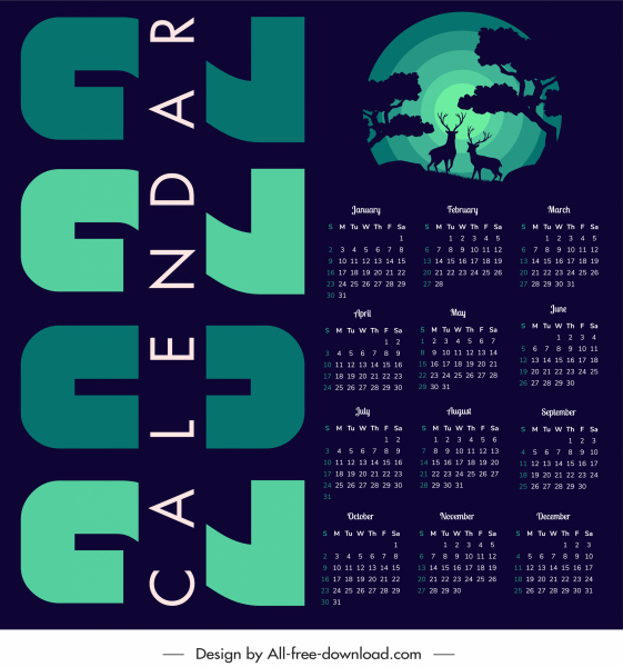 2022 calendar template dark design wild life theme