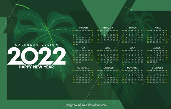2022 calendar template dark green leaf decor