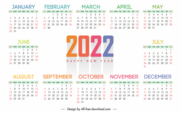 2022 calendar template elegant bright white plain decor