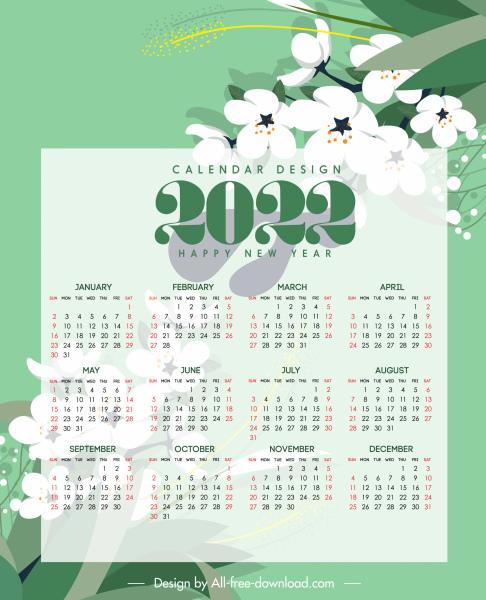 2022 calendar template elegant classic botanical decor