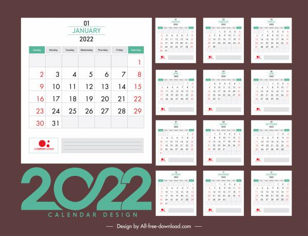 2022 calendar template elegant contrast classic plain