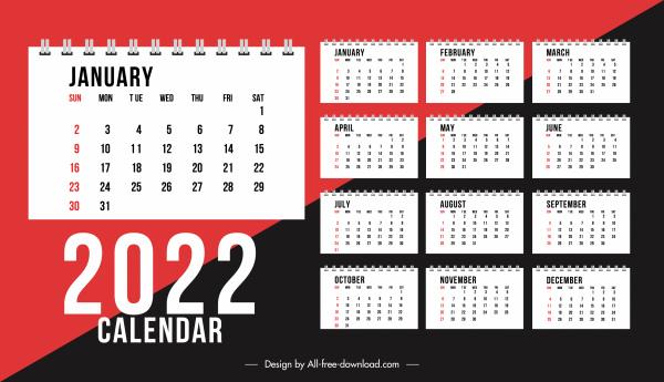 2022 calendar template elegant contrast decor