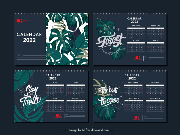 2022 calendar template elegant dark design classical leaves