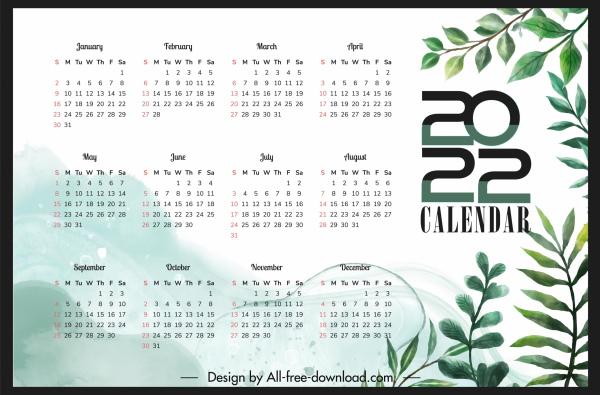 2022 calendar template elegant leaves decor
