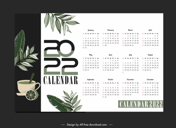 2022 calendar template elegant leaves tea sketch