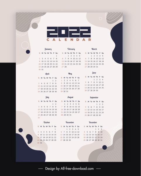 2022 calendar template plain white deformed shapes decor