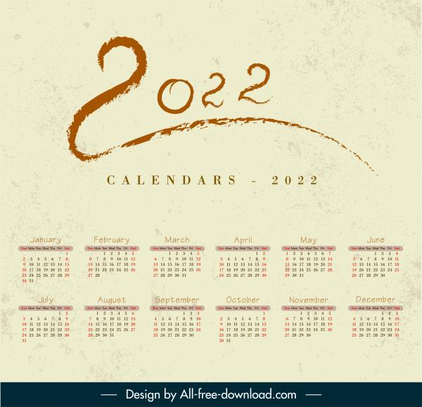 2022 calendar template retro design handdrawn numbers decor