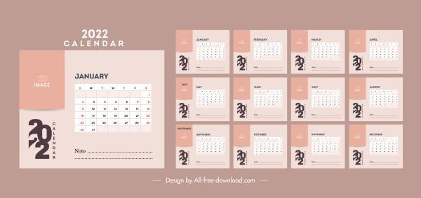 2022 calendar template simple plain decor