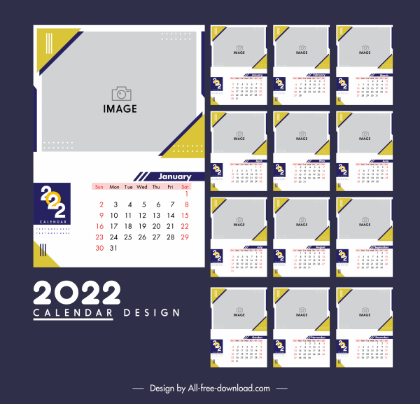2022 calendar templates modern flat plain decor