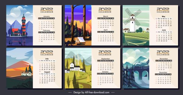 2022 calendar templates scenery sketch colorful classic design