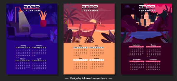 2022 calendar templates scenes sketch dark design