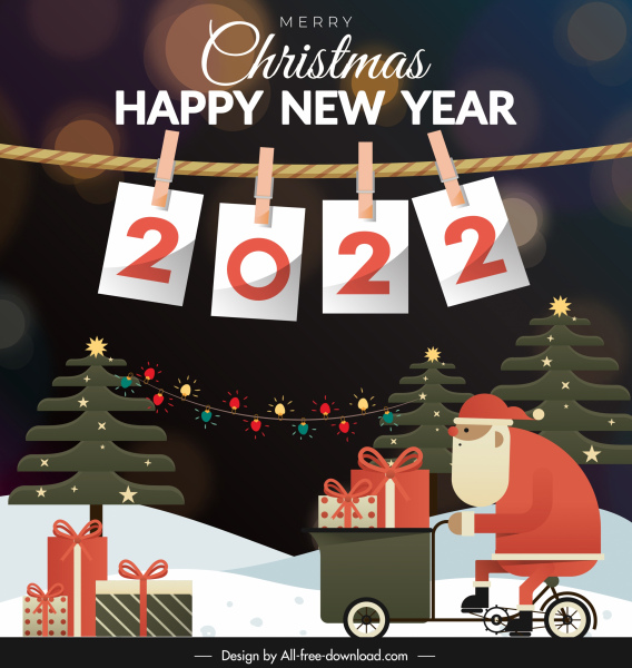 2022 new year banner colorful flat xmas elements