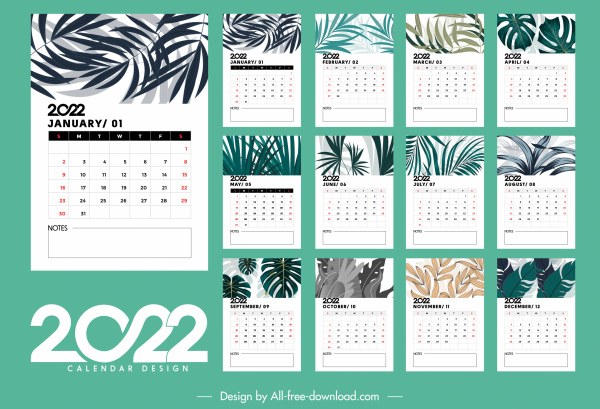 2022 table calendar template elegant bright leaves decor