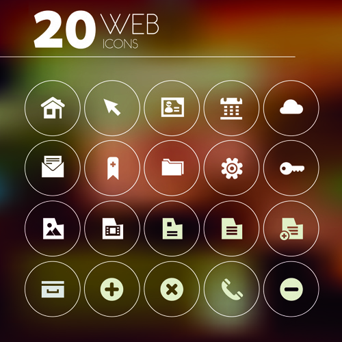 20 kind creative web icons vector