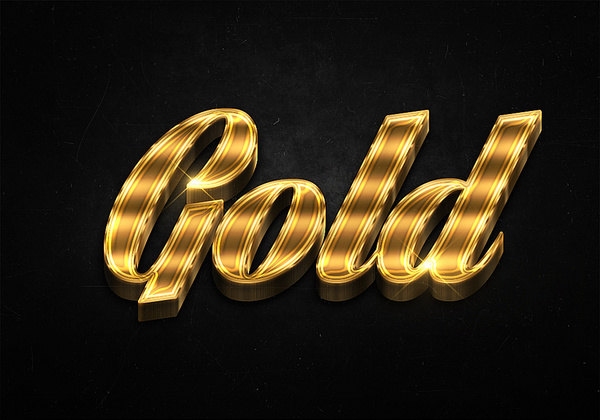 2 3d shiny gold text effects preview