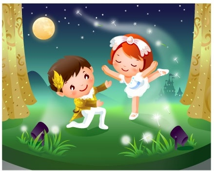 2 children dancing motion vector