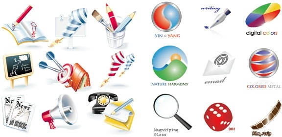 2 sets of 3d style icon vector
