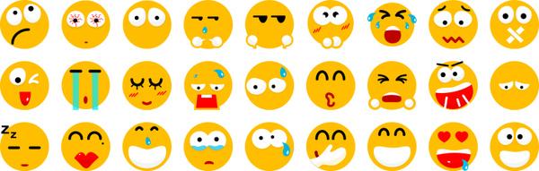 30 flat smile icons