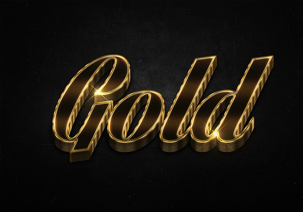 35 3d shiny gold text effects preview
