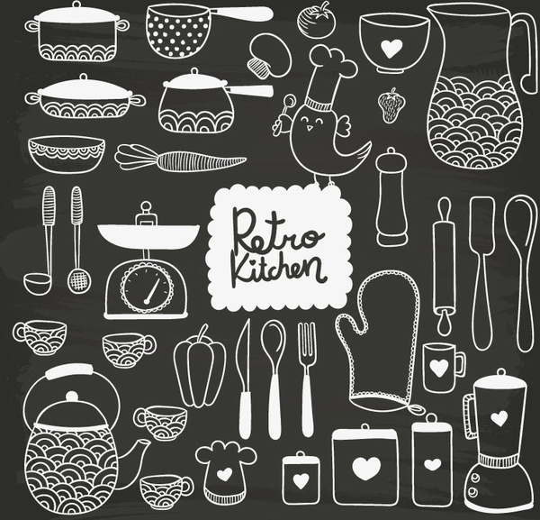 35 hand painted kitchen design vector