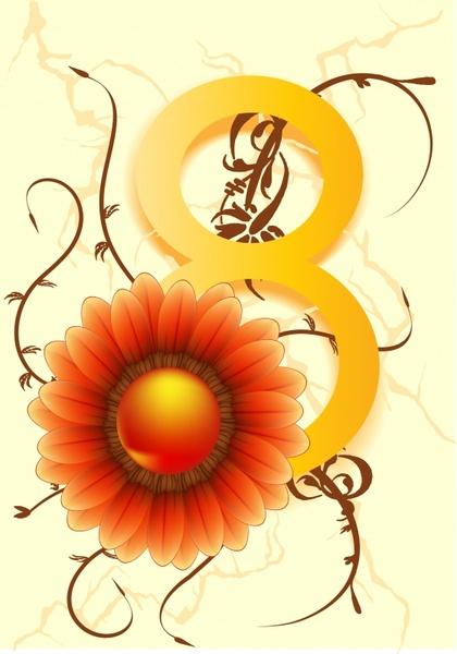 women day background number petal decor modern design