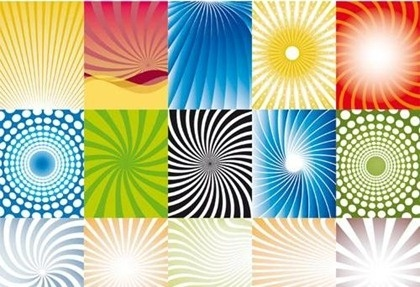 colorful abstract background sets rays and curves decoration