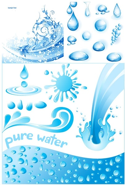 3 cool water theme vector
