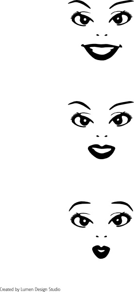3 Faces clip art