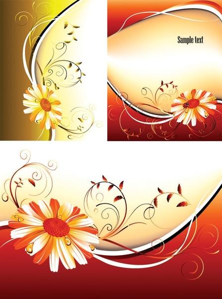 3 flower pattern background vector