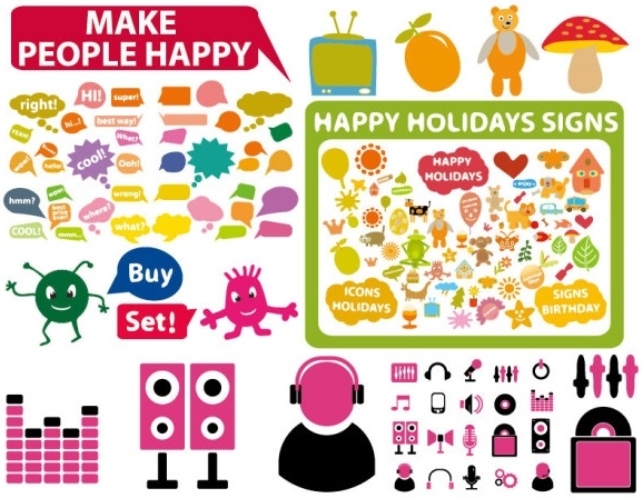 3 sets of cute style icon vector