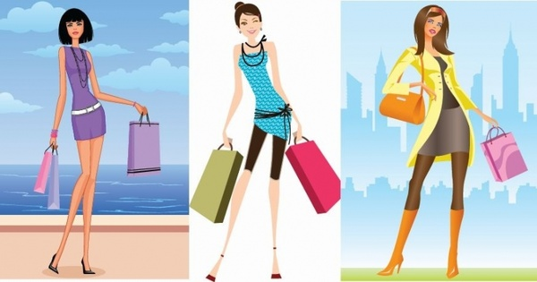3 Shopping Girls Vector Illustration