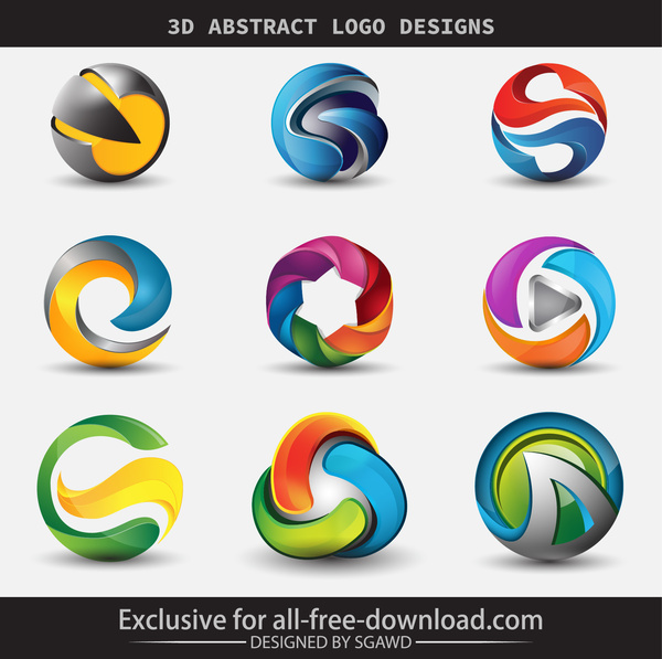 3d abstract logo designs free vector in adobe illustrator ai ai