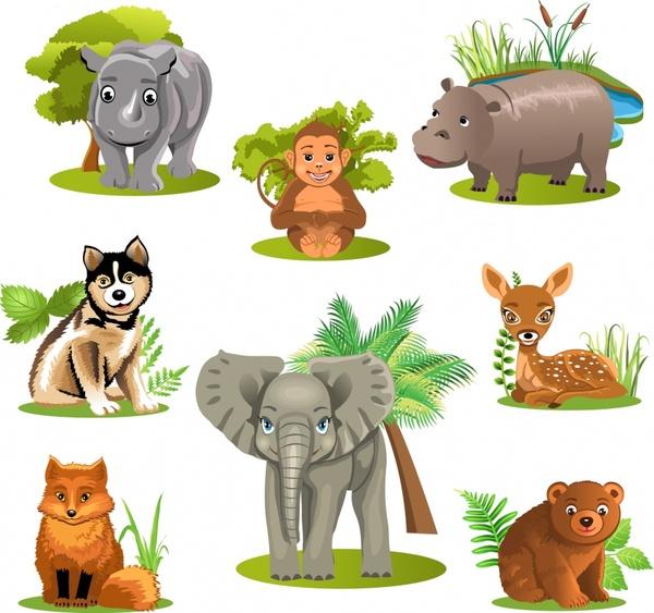 wild animal icons 3d colored design cartoon design