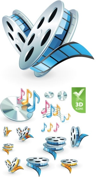 3d audio video icon vector