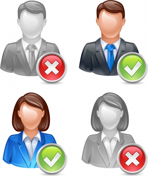 staff avatar icons modern colored 3d sketch