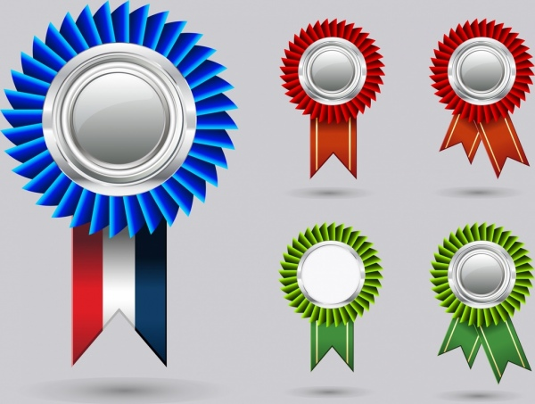 3d badges templates shiny colored circles ornament free vector in