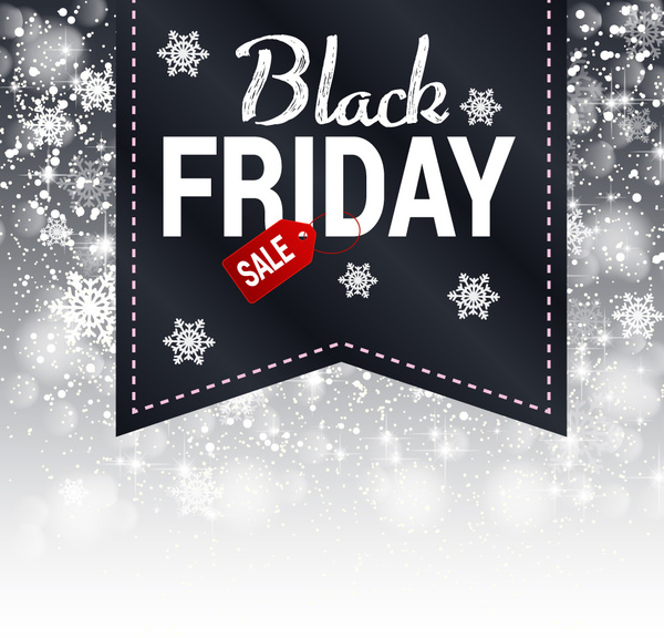 3d black friday design on snowflakes background