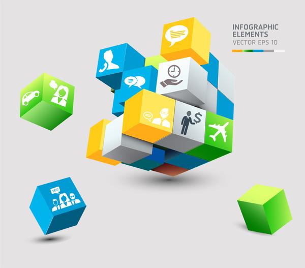 3d box infographic elements
