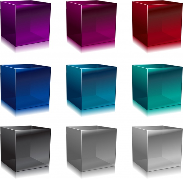 cubic box icons colored modern 3d design