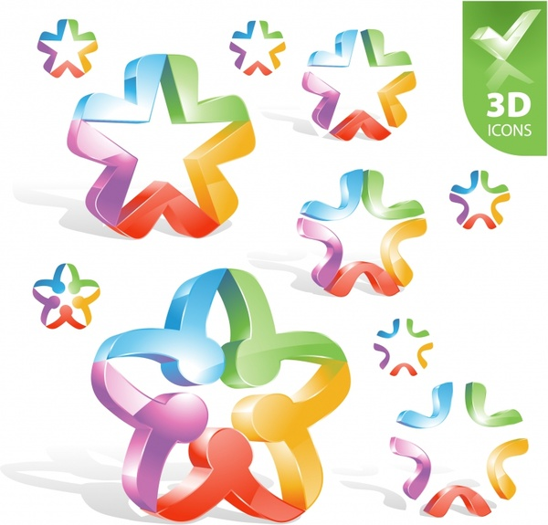 decorative stars icons modern colorful shiny 3d design