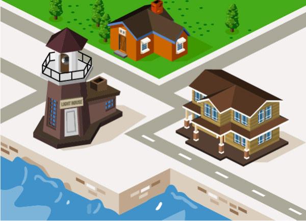 3d city building model vector set